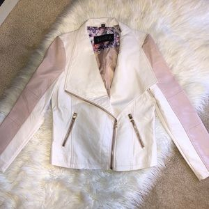 GUESS White & Pink Faux Leather Moto Style Jacket
